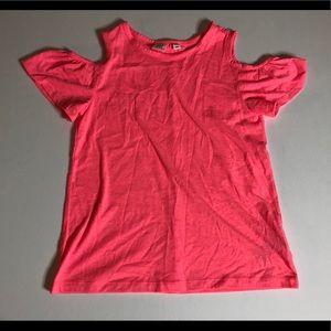 Girls Gap neon pink cold shouldered top